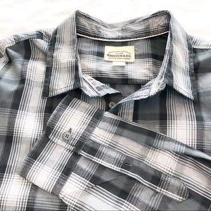 Gray ROEBUCK & CO Plaid Shirt XL Long Sleeve Shirt